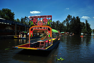 Xochimilco - Trajinera boats at Xochimilco