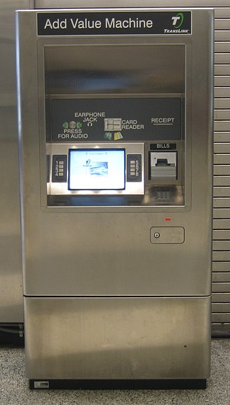 Clipper card - An Add Value Machine for TransLink/Clipper cards, used to load electronic cash or transit passes.