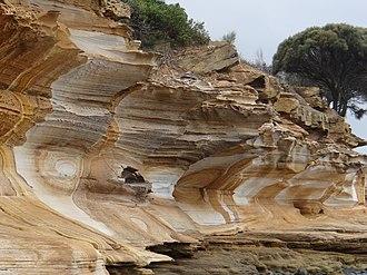 Geology of Tasmania - Triassic sandstone at Painted Cliffs on Maria Island