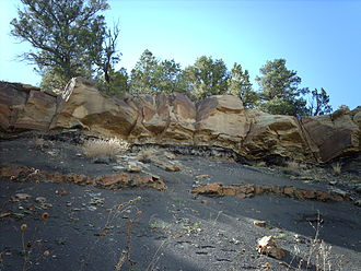 Cretaceous–Paleogene boundary - The K–Pg boundary exposure in Trinidad Lake State Park, in the Raton Basin of Colorado, USA, shows an abrupt change from dark- to light-colored rock.