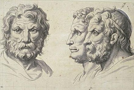Three lion-like heads, Charles le Brun, France, pen and wash on squared paper, 1671 Trois tetes d'hommes en relation avec le lion.jpg