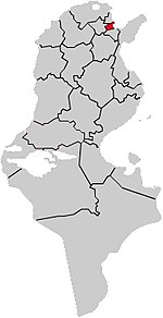 Location map of the location of the County in Tunis, Tunisia