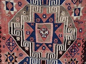 Kilim - Detail of a Turkish kilim, illustrating usage of several kilim motifs