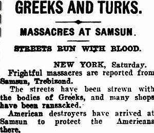 Samsun deportations - Massacres at Samsun: Streets run with blood, The Tweed Daily, 6 Jun 1921