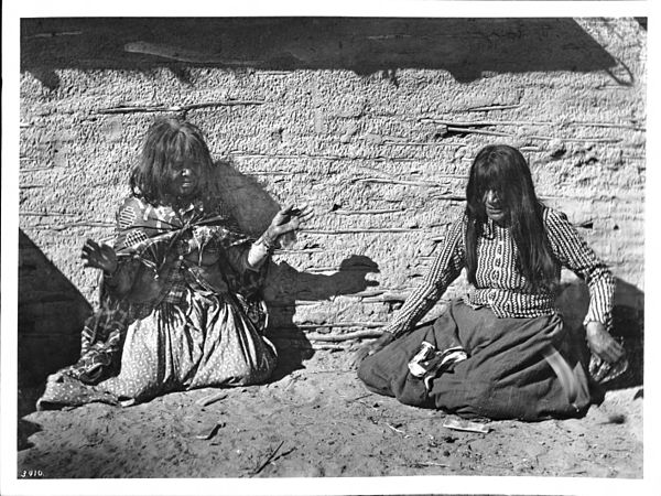 Two Mojave Indian women playing a game (fortune-telling with bones?), ca.1900 Two Mojave Indian woman playing a game (fortune-telling with bones%3F), ca.1900 (CHS-3410).jpg