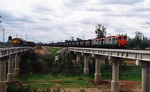 Blackwater railway system - Two eastbound trains run parallel on a bidirectionally signalled duplicated section of the Central West line