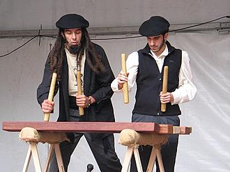 Basque music - Txalaparta players in a festival