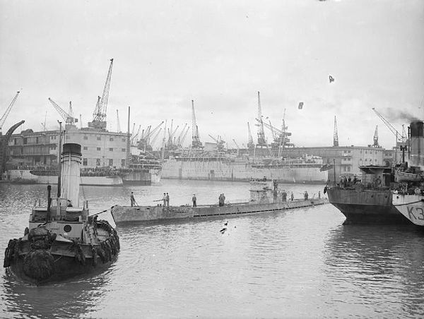 German submarine U-532 was the last of the Monsun Gruppe to return to Europe, and is shown arriving in Liverpool after the German surrender. U-boat Warfare 1939-1945 A28677.jpg