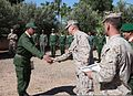 U.S. Marine Corps Brig. Gen. Charles G. Chiarotti, center, the deputy commander of Marine Forces Africa and Marine Forces Europe, and 1st Lt. Ben Baker, right, an assistant intelligence officer with the 24th 120413-M-FR139-036.jpg