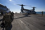 U.S. Marines with the 26th Marine Expeditionary Unit's command element board an MV-22B Osprey tiltrotor aircraft on the flight deck of the amphibious assault ship USS Kearsarge (LHD 3) in the Atlantic Ocean en 131103-M-SO289-003.jpg