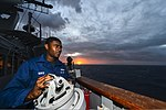 U.S. Navy Seaman Jetaime Mays stands watch on the bridge wing aboard the guided missile cruiser USS Monterey (CG 61) in the Atlantic Ocean Jan. 3, 2014 140103-N-QL471-008.jpg