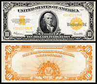 $10 Gold Certificate, Series 1922, Fr.1173, depicting Michael Hillegas