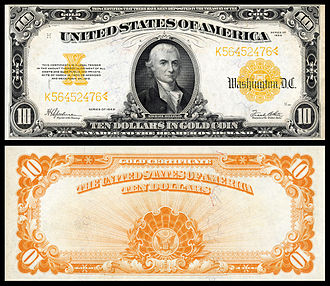 Great Depression in the United States - A $10 US Gold certificate. The U.S. used the Gold standard until 1934 and controlled nearly half of the global gold supply during the inter-war period.