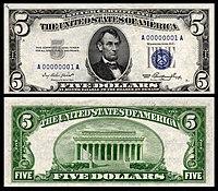 Certificado de prata de $ 5, série 1953, Fr.1655, representando Abraham Lincoln