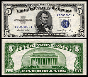 Coinage Act of 1965 - A $5 silver certificate