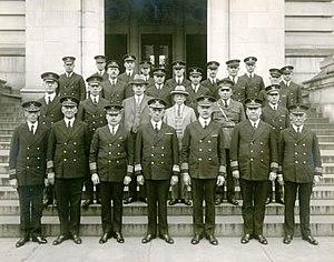 Frederick C. Billard - Commandant and administrative staff, U.S. Coast Guard Headquarters, Washington, D.C., October 27, 1928. Commandant Billard is centered in front row.