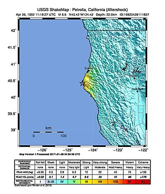 1992 Cape Mendocino earthquakes - Image: USGS Shakemap 1992 Cape Mendocino earthquake (second aftershock)