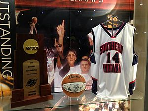 Southern Indiana Screaming Eagles - Display case at the Ford Center in Downtown Evansville, honoring USI's national championship in basketball