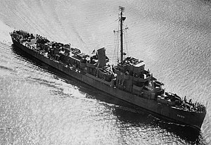 USS Cannon (DE-99) underway in Delaware Bay on 5 September 1943 (NH 83390).jpg