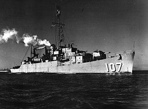 USS Earle B. Hall (APD-107) underway, circa in 1950.jpg