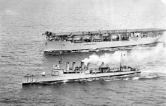 USS Cole (DD-155) - Image: USS Langley (CV 1) and USS Cole (DD 155) underway in the South Pacific, circa in the mid 1930s