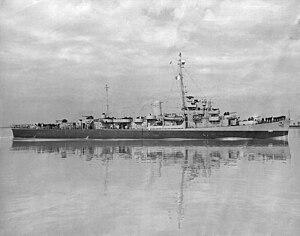 USS Mosley (DE-321) underway in October 1945