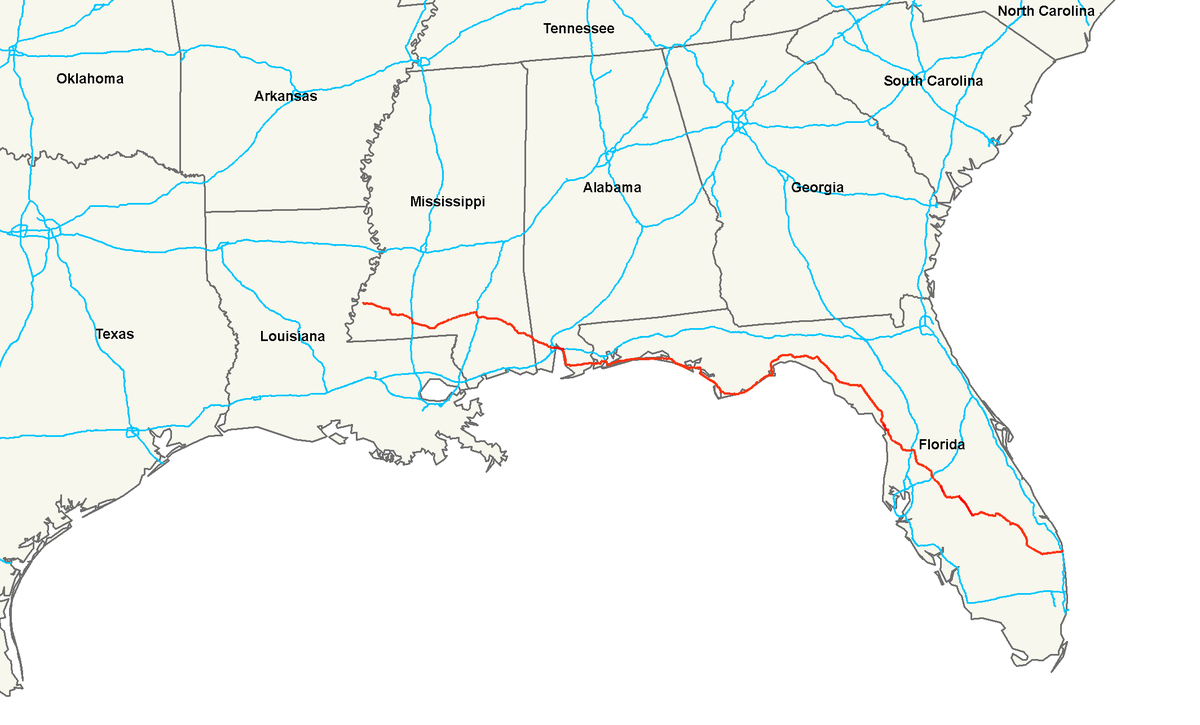 US Route Wikipedia - Map of south mississippi