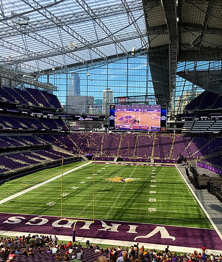 Transparent roof and walls US Bank Stadium interior - Minnesota Vikings orientation.jpg