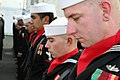 US Navy 060112-N-6710M-077 Sailors assigned to the USS Patriot (MCM 7) Color Guard bow their heads for a moment of prayer during the ship's change of command ceremony.jpg