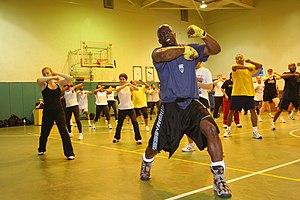 Tae Bo creator Billy Blanks, leading a class.