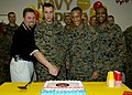 US Navy 061109-N-1082Z-005 Jeff S. Walker, Oceana Branch Navy Federal Credit Union manager, along with Pfc. Troy J. Edwards, Sgt. Wesley J. Hall and Sgt. Maj. Albert L. Stiney cut a birthday cake to commemorate the Marine Corps.jpg