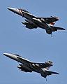 US Navy 080627-N-7981E-185 Two F-A-18E-F Super Hornets fly over Abraham Lincoln.jpg