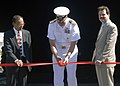 US Navy 080801-N-0995C-010 Capt. Michael Turner, commanding officer of the Center for Naval Engineering Learning Site cuts the ribbon to a fire trainer.jpg