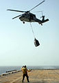 US Navy 090214-N-6764G-078 An MH-60S Sea Hawk helicopter lowers supplies during a vertical replenishment.jpg