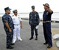 US Navy 100606-N-9643W-696 Southern Partnership Station 2010 leadership meet with a member of the Nicaraguan military shortly after the arrival of High Speed Vessel Swift (HSV 2) into Corinto Port.jpg