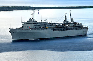 USS Emory S. Land (AS-39) at Apra Harbor, Guam, on 23 January 2018