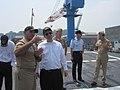 US Navy 100724-N-6451M-002 Cmdr. Dennis Velez describes ship movement to Assistant Secretary of State Andrew Shapiro, during his visit to USS Fitzgerald (DDG 62).jpg