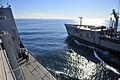 US Navy 101212-N-7042V-069 The Military Sealift Command fleet replenishment oiler USNS Henry J. Kaiser (T-AO 187) extends a fuel line to the amphib.jpg
