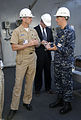 US Navy 111025-N-FC670-131 Chief of Naval Operations (CNO) Adm. Jonathan Greenert, left, tours the amphibious transport dock ship Pre-Commissioning.jpg