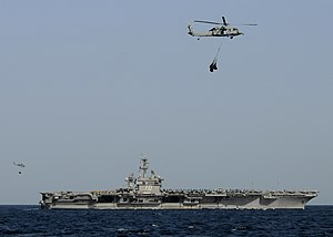 US Navy 120214-N-BC134-265 An MH-60S Sea Hawk helicopter transfers supplies.jpg