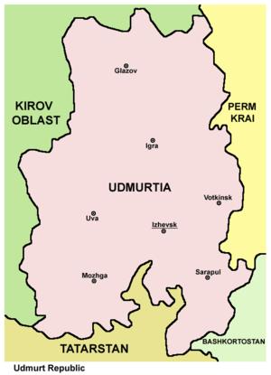 Udmurtia - Map of the Udmurt Republic