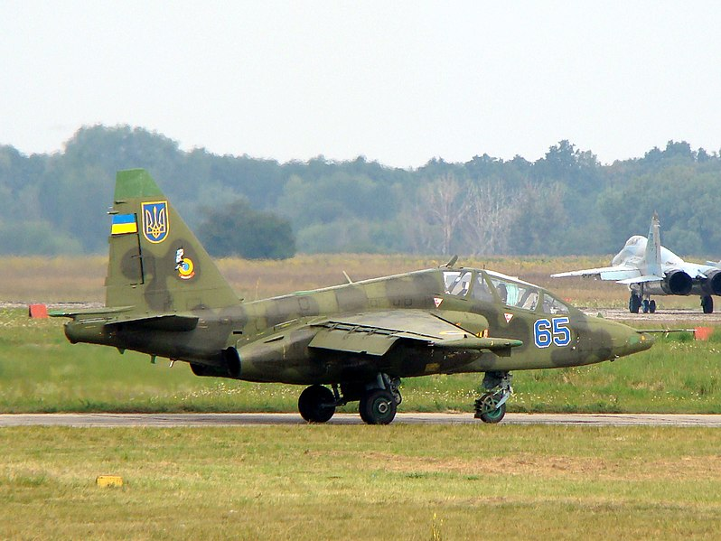 File:Ukrainian Air Force Su-25UB with two MiG-29s (9-13) in background.jpg