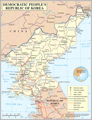 Geography of North Korea - A map of North Korea