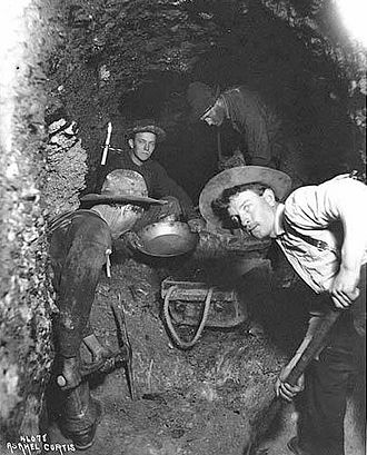 Klondike Gold Rush - Mining in a shaft, 1898.