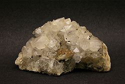 Quartz crystal. The individual grains of this polycrystalline mineral sample are clearly visible.