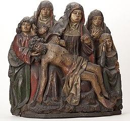 Beeldengroep van eikenhout, gepolychromeerd, de bewening van Christus