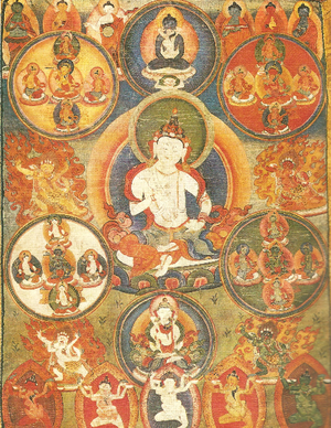 Sanghyang Adi Buddha -  Tibetan Tanka representing the Adi-Buddha Vajrasattva. Samantabhadra and Samantabhadri, also considered Adi-Buddha, are above. Gouache on cloth.