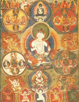 Sanghyang Adi Buddha - Tibetan Tanka representing the Adi-Buddha Vajrasattva. Samantabhadra and Samantabhadri, also considered Adi-Buddha, are above. Gouache on cloth.
