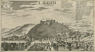 Ljubljana Castle - View of Ljubljana and its castle, engraving from Topographia Ducatus Carniolae modernae by Johann Weikhard von Valvasor (1679)