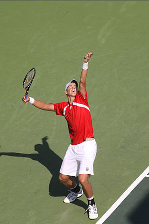 Vasek Pospisil - Pospisil serving in his match against Dudi Sela at the 2011 Davis Cup World Group Play-offs